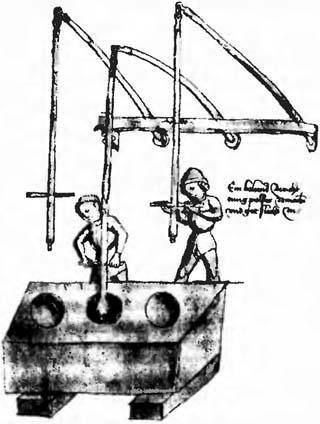 Перетирание пороха при помощи пестов, укрепленных на пружинных подвесах. Рисунок XV века