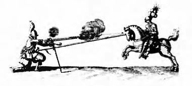 Мушкетер, стреляющий в рыцаря