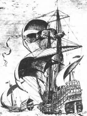 Военный корабль. XVII века. Гравюра по картине Питера Брейгеля