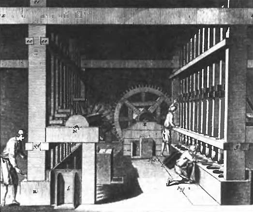 Пороховая мельница-толчея. Гравюра XVIII века