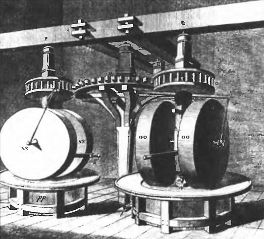 Жернова пороховой мельницы. Гравюра XVIII века