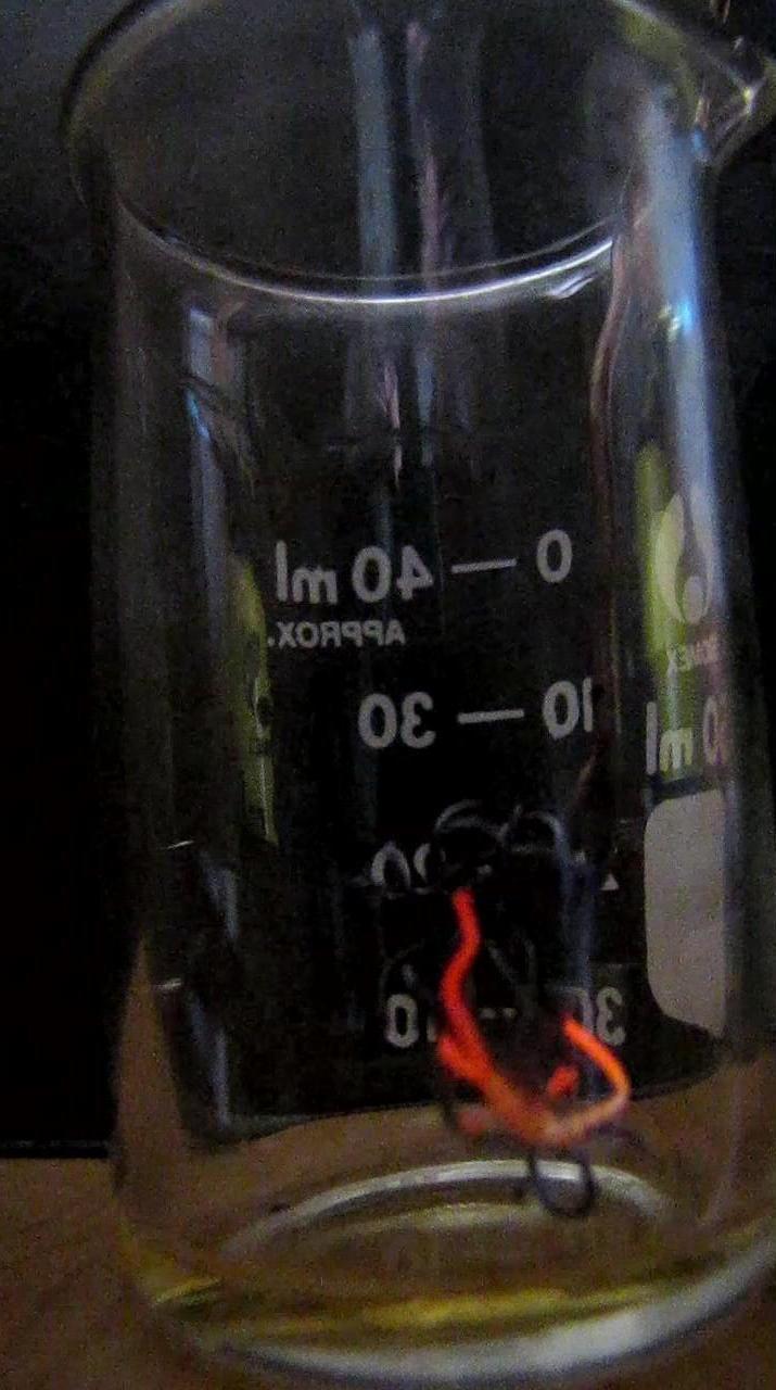 Каталитическое горение ацетона на медной проволоке