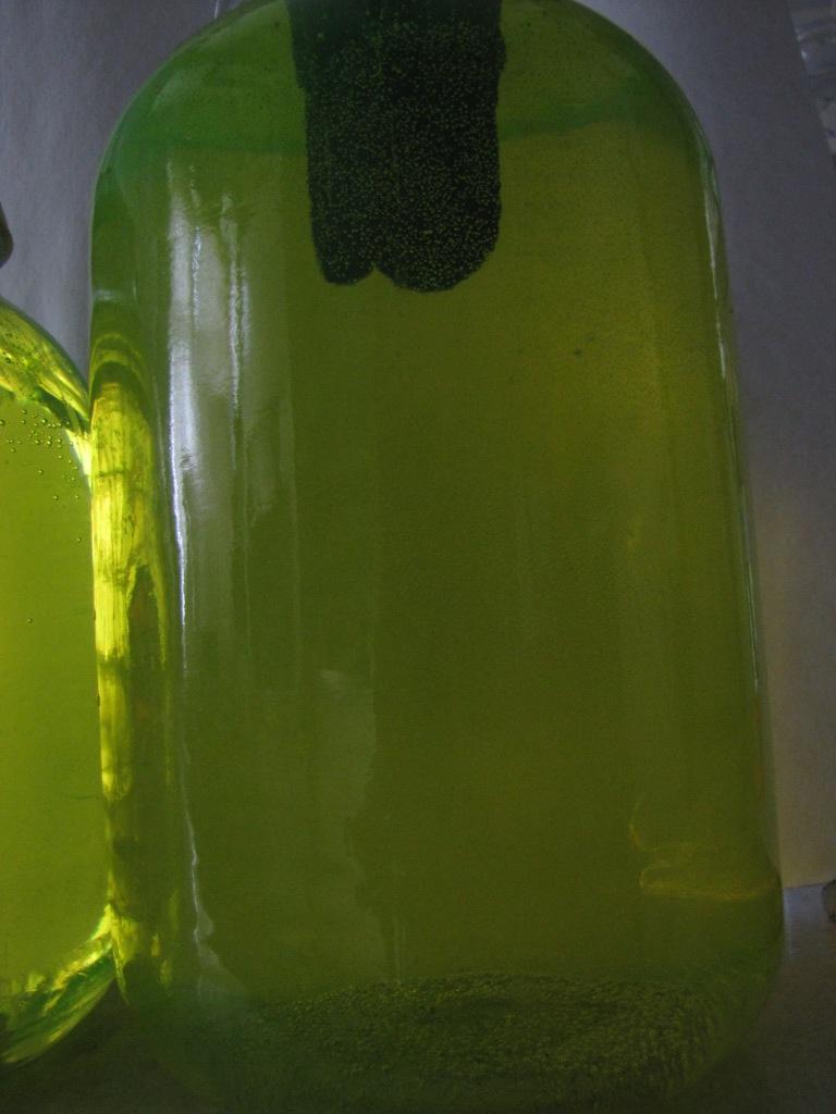 Раствор флуоресцеина в ультрафиолетовом свете