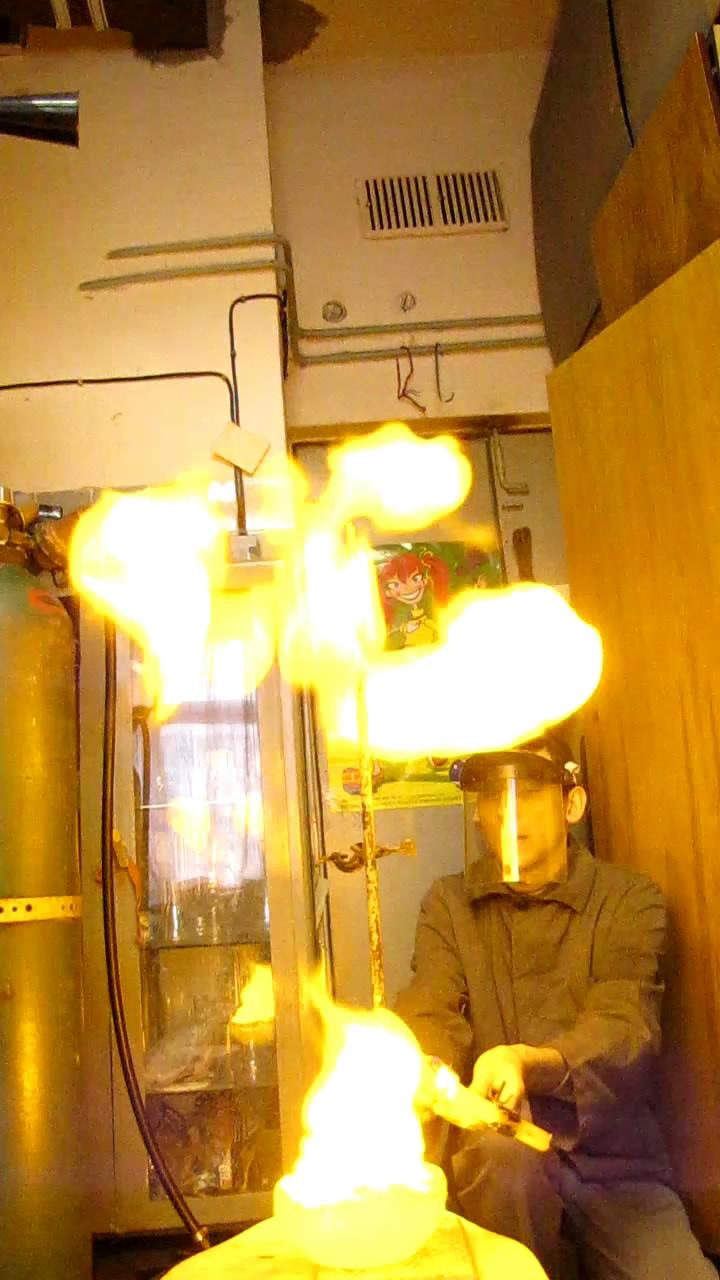 Горение пены с водородом