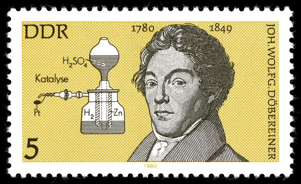 Марка в честь Иоганна Вольфганга Деберейнера (Восточная Германия, 1980 г)