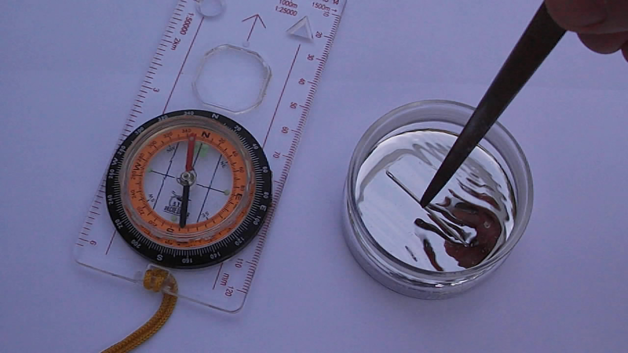 Ртутный компас. How to make magnetic compass from metallic mercury and needle