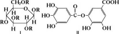Таннины бывают гидролизуемые, например I и негидролизуемые (катехины или конденсированные таннины), например II