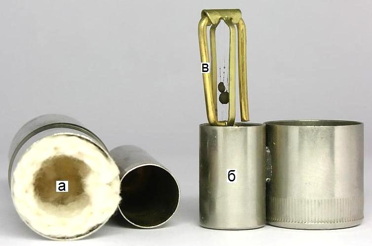 Составные части ''метанольной'' зажигалки
