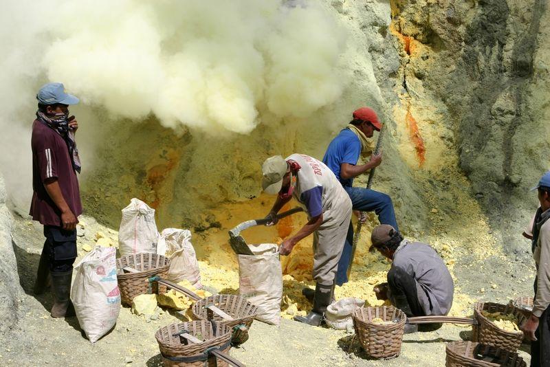 Добыча серы в Кава Иджен