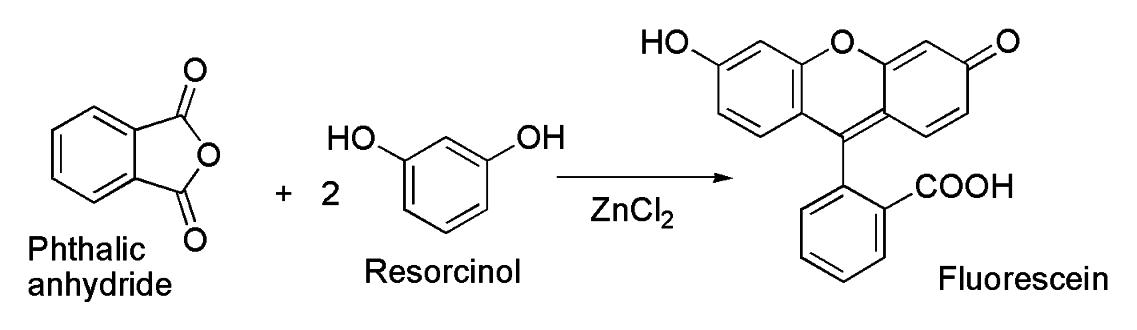Флуоресцеин получают конденсацией фталевого ангидрида с резорцином в присутствии хлорида цинка