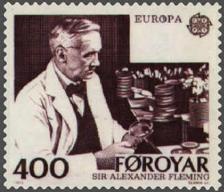 Почтовая марка, посвященная А. Флемингу - первооткрывателю пенициллина