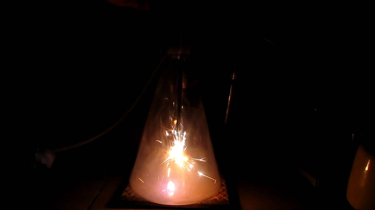 Горение серы переходит в горение железа (кислород)