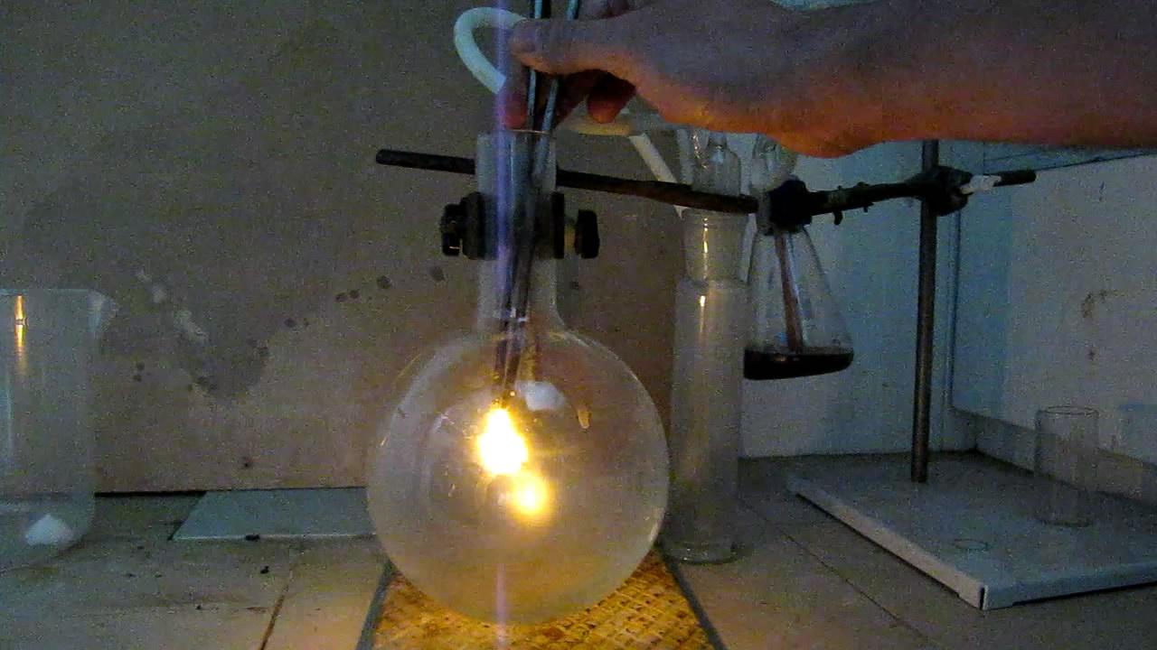 Воспламенение тлеющей лучинки в кислороде
