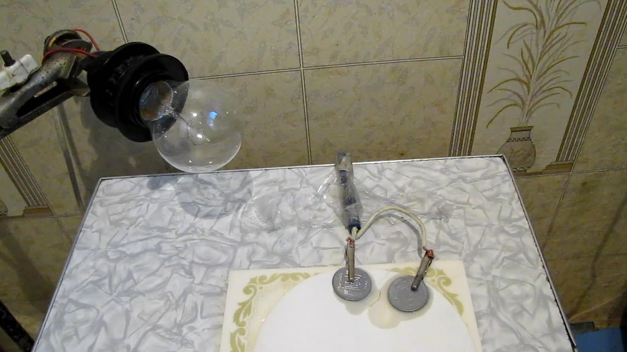 Соляная кислота, фильтровальная бумага и электрический ток. Hydrochloric acid, filter paper and electric current (U=220V)