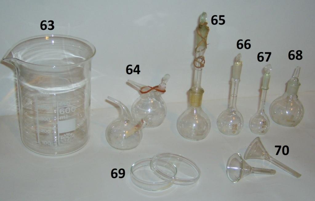 Химическая посуда: колбы, стаканы, пробирки, пипетки и т.п.