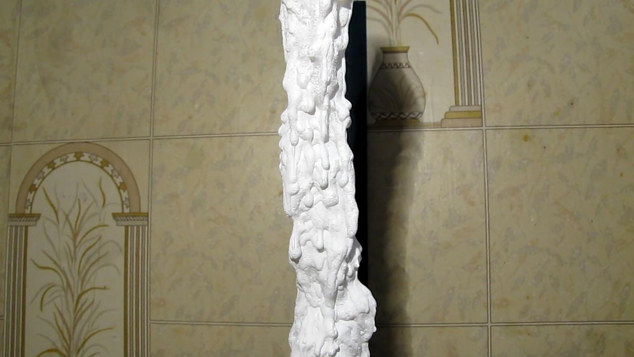 Выращивание сталагмита (используется пересыщенный раствор ацетата натрия). Stalagmite growing (using supersaturated solution of sodium acetate)