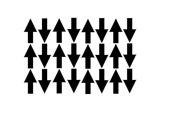 Антиферромагнетик - магнитные моменты вещества попарно ориентированы в противоположных направлениях и равны по силе