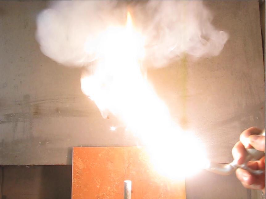 Вспышка смеси алюминиевый порошок - воздух. Burning of mixture of aluminum dust and air