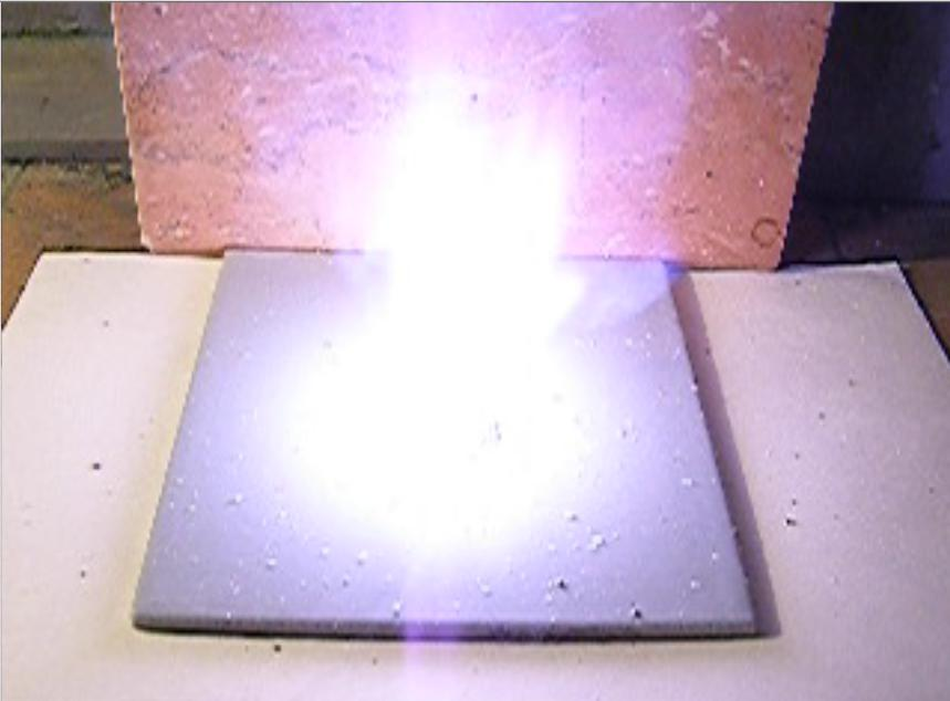 Воспламенение смеси бертолетовой соли и сахара. Ignition of a Mixture of Potassium Chlorate and Sugar after adding of Sulfuric Acid