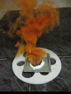 Горение смеси йодата свинца и уротропина (избыток) - Химический вулкан