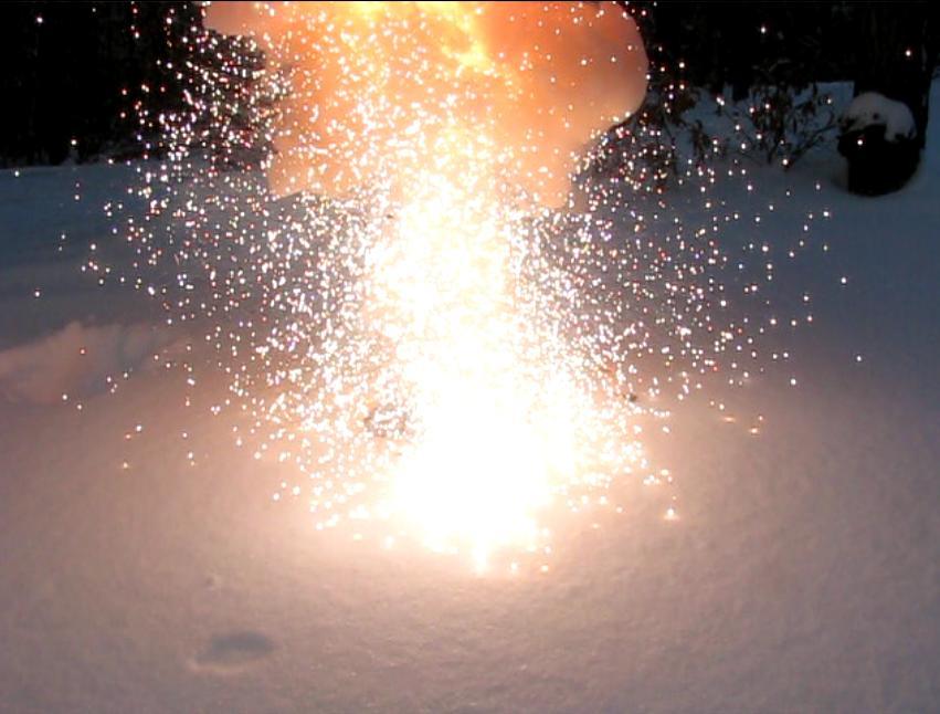 Вспышка смеси перманганата калия и алюминиевой пудры