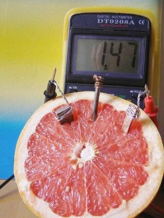 Батарейка из грейпфрута