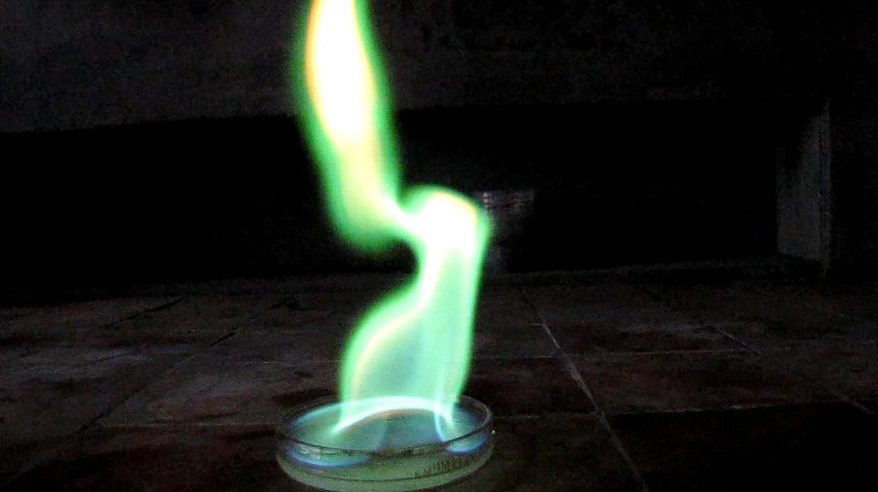 Горение этилового эфира борной кислоты (этилборат B(OC2H5)3 )